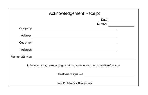 Acknowledgement Receipts (2 per page) cash receipt