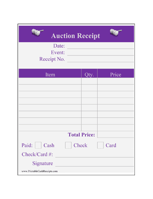 Auction Winner Receipts Decorated (4 per page) cash receipt