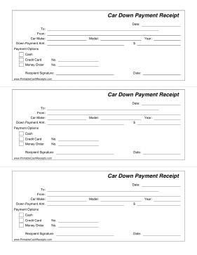 Car Down Payment Receipt cash receipt