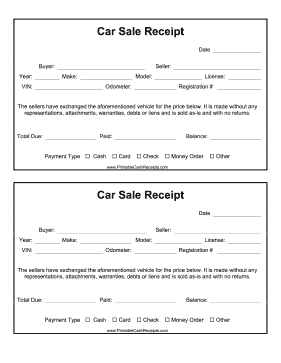 Car Sale Receipt cash receipt