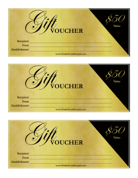 Fancy Gift Voucher 50 cash receipt
