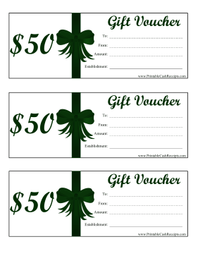 Gift Vouchers 50 Dollars cash receipt