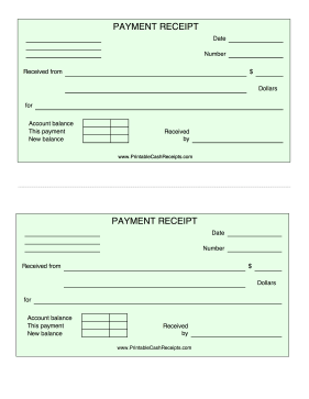 Green Payment Receipt cash receipt