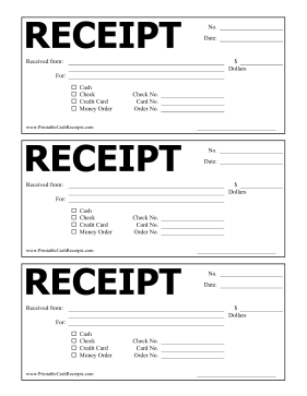 Large Header Receipt cash receipt