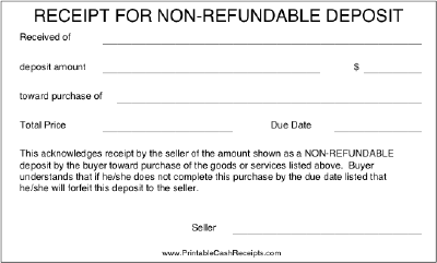 Non-refundable Deposit Receipt cash receipt