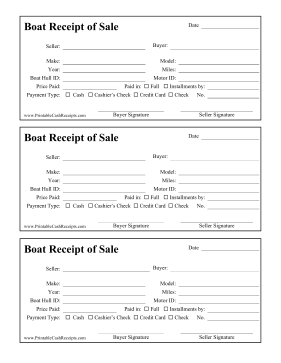 Receipt Of Sale Boat cash receipt