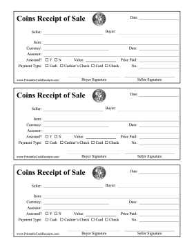 Receipt Of Sale Coins cash receipt