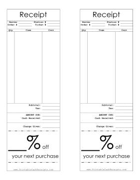 Receipt With Coupon Percentage cash receipt