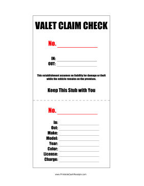 Valet Claim Check cash receipt