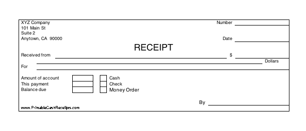 Printable Cash Receipt cash receipt