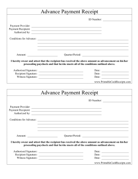 Advance Payment Receipt cash receipt