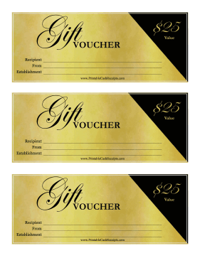 Fancy Gift Voucher 25 cash receipt