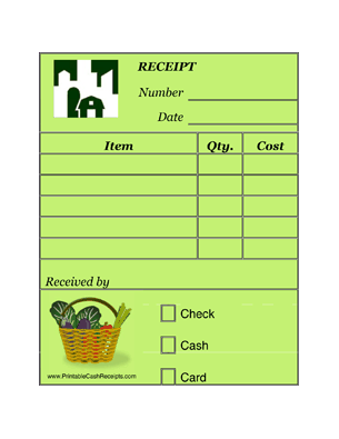 Farmers Market Receipts (4 per page) cash receipt