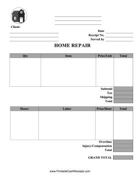 Home Repairs Receipt cash receipt