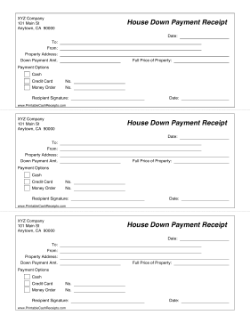 House Down Payment Receipt cash receipt