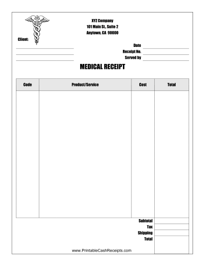 Medical Receipt cash receipt