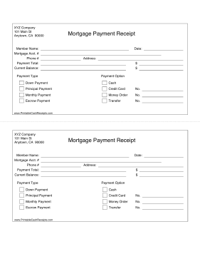 Mortgage Receipt cash receipt