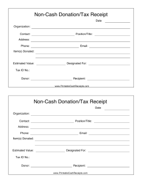 Non-Cash Donation cash receipt