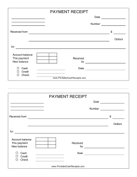 Payment Receipt With Payment Type cash receipt
