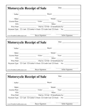 Receipt Of Sale Motorcycle cash receipt