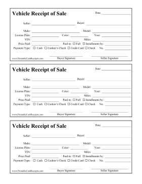 Receipt Of Sale Vehicle cash receipt