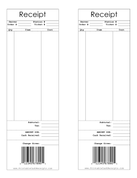 Receipt With Barcode cash receipt
