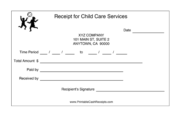 Receipts For Child Care (2 per page) cash receipt