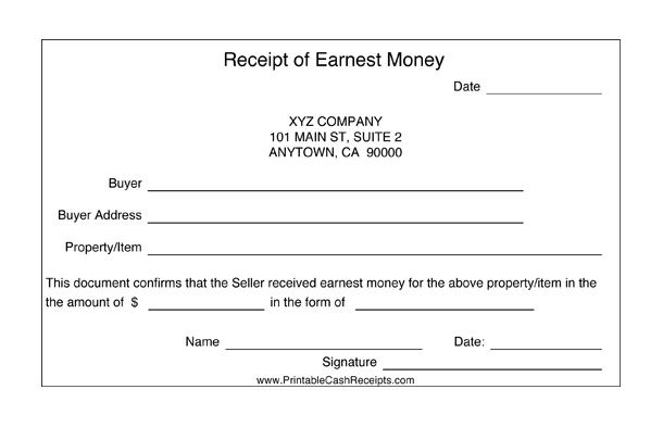 Receipts for Earnest Money (2 per page) cash receipt