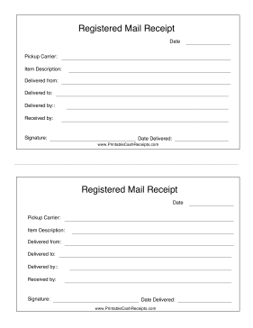 Registered Mail Receipt cash receipt