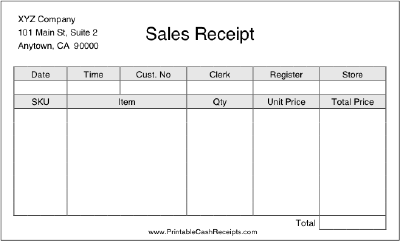 Sales Receipt cash receipt