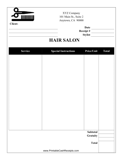 Salon Receipt cash receipt