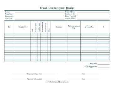 Travel Reimbursement cash receipt